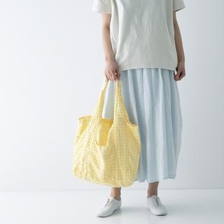 ネストローブ(nest Robe)のnest robe リネンギンガム パッカブル 撥水トート 限定カラー レモン(トートバッグ)