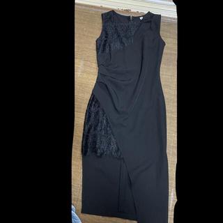 black 黒 キャバドレス M size 膝丈 ワンピース ドレス(ミディアムドレス)