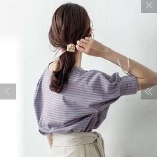 ミスティック(mystic)の新品未使用 mystic ボーダー袖タックTシャツ ブルー(Tシャツ(半袖/袖なし))