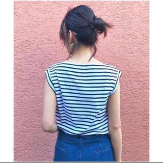 トゥデイフル(TODAYFUL)のTODAYFUL サイドスリットボーダーTシャツ シンプル 定番 白 マリン 夏(カットソー(半袖/袖なし))