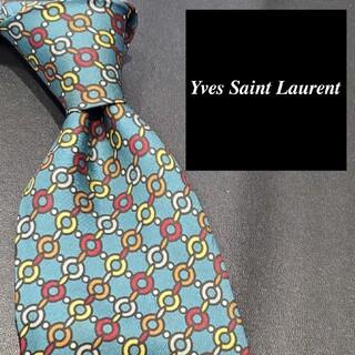 サンローラン(Saint Laurent)のイヴサンローラン ネクタイ ブランド 緑 チェーン柄 メンズ(ネクタイ)
