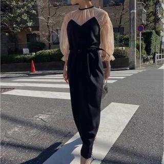 アメリヴィンテージ(Ameri VINTAGE)のAIRY SLEEVE TIGHT DRESS ブラック(ロングドレス)