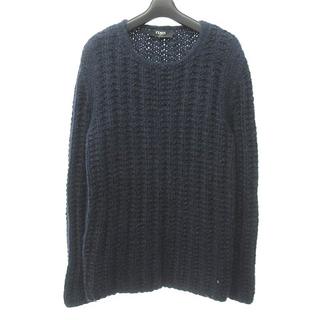 フェンディ(FENDI)のフェンディ ケーブルニット セーター 長袖 ざっくり編み モヘア 紺 46(ニット/セーター)