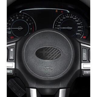 スバル(スバル)のスバル ブラック6連星カーボン調 ステアリング エンブレムステッカー(車内アクセサリ)