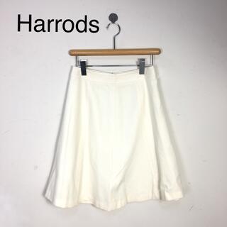 ハロッズ(Harrods)のB522 Harrodsハロッズ 膝丈スカート ホワイト白 サイズ2 (ひざ丈スカート)