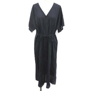 アニエスベー(agnes b.)のアニエスベー 20年製 ドット織りワンピース ロング Vネック 半袖 3 L 紺(ロングワンピース/マキシワンピース)