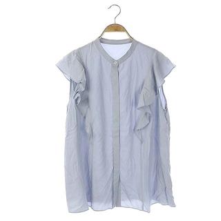 ニジュウサンク(23区)の23区 ノースリーブ ブラウス シャツ 前開き バンドカラー グレイッシュブルー(シャツ/ブラウス(半袖/袖なし))