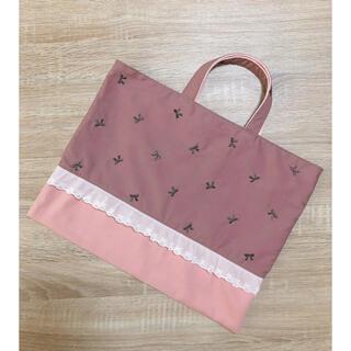 レッスンバッグ ショコラブラウン リボン刺繍 レース ハンドメイド(バッグ/レッスンバッグ)