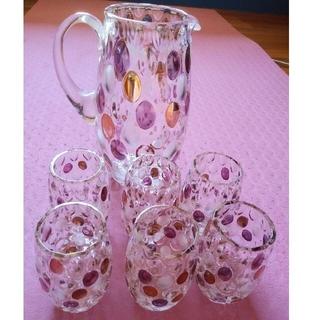 ボヘミア クリスタル(BOHEMIA Cristal)の最終お値下げ!ボヘミアングラス ハンドペイント水玉ピッチャーとタンブラー6個(グラス/カップ)