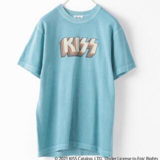 ローリーズファーム(LOWRYS FARM)のアッシュコラボロックTEE/古着風Tシャツ/ブルー系/KISS/バンドTシャツ(Tシャツ(半袖/袖なし))