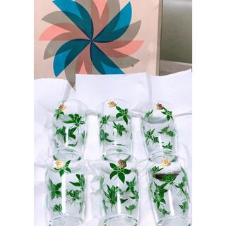 東洋佐々木ガラス - 懐かしい昭和レトロ商品⭐️佐々木グラス⭐︎緑花柄ガラスコップ⭐︎6個セット