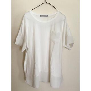 フェリシモ(FELISSIMO)の異素材 白 カットソー (カットソー(半袖/袖なし))