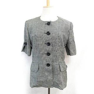 クリスチャンディオール(Christian Dior)のクリスチャンディオール ノーカラー ジャケット ヴィンテージ 千鳥柄 白黒 L(テーラードジャケット)