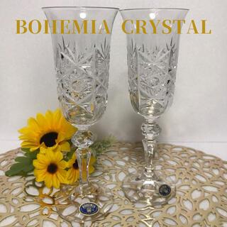 ボヘミア クリスタル(BOHEMIA Cristal)の[未使用] BOHEMIA ボヘミア シャンパングラス ペア ヴィンテージ(グラス/カップ)