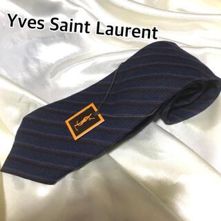 サンローラン(Saint Laurent)のYves saint Laurent  ネクタイ ストライプ ウール ネイビー系(ネクタイ)