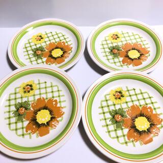 ニッコー(NIKKO)のNIKKO* オールドニッコー レトロ 花柄 中皿 4枚セット(食器)