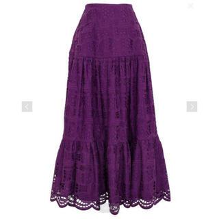 ドゥロワー(Drawer)のDrawer コットンエンブロダイリーギャザースカート(ロングスカート)
