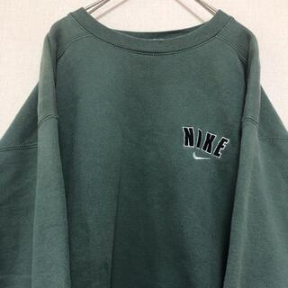 ナイキ(NIKE)の【激レア】NIKE 90s 古着 スウェット トレーナー 刺繍ロゴ グリーン(スウェット)