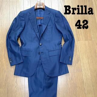 ビームス(BEAMS)のシルク混!Brilla per il gusto ネイビーストライプスーツ 42(セットアップ)