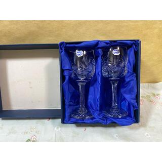 ボヘミア クリスタル(BOHEMIA Cristal)のチェコ BOHEMIA CRYSTAL ボヘミアクリスタル グラス ペア 経年品(グラス/カップ)