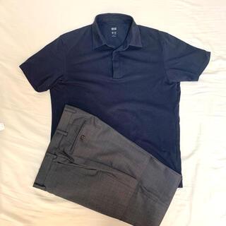 UNIQLO - 【三連休セール】エアリズムポロシャツ UNIQLO ネイビー