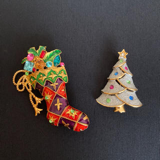 エイボン(AVON)のAVON ヴィンテージブローチ 2点セット まとめ売り クリスマス(ブローチ/コサージュ)