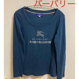 バーバリー(BURBERRY)の美品 バーバリー 長袖Tシャツ ネイビー ストレッチ Sサイズ(Tシャツ/カットソー(七分/長袖))