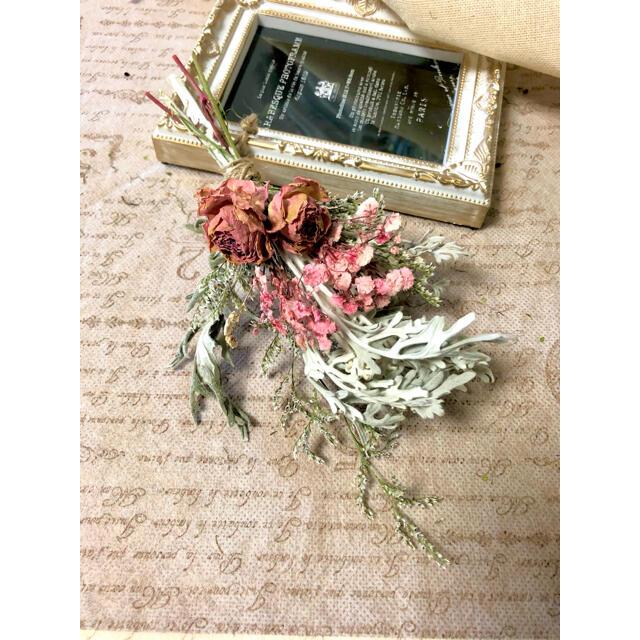 ナチュラルドライフラワー 0826-4 ピンクとホワイトのスワッグ ハンドメイドのフラワー/ガーデン(ドライフラワー)の商品写真
