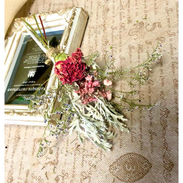 ナチュラルドライフラワー 0826-5 ピンクとホワイトのスワッグ ハンドメイドのフラワー/ガーデン(ドライフラワー)の商品写真