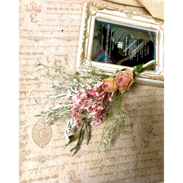 ナチュラルドライフラワー 0826-6 ピンクとホワイトのスワッグ ハンドメイドのフラワー/ガーデン(ドライフラワー)の商品写真