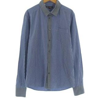 ドルチェアンドガッバーナ(DOLCE&GABBANA)のドルチェ&ガッバーナ 美品 シャツ チェック 切替 長袖 青 グレー 40 M(シャツ)