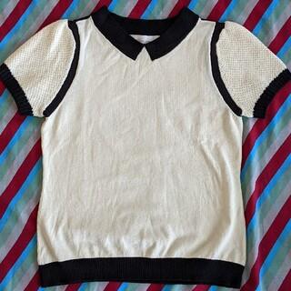 トランテアンソンドゥモード(31 Sons de mode)の白黒バイカラーニットトップス(カットソー(半袖/袖なし))