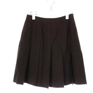 クリスチャンディオール(Christian Dior)のクリスチャンディオール プリーツスカート ひざ丈 ウール 7 S 茶(ひざ丈スカート)