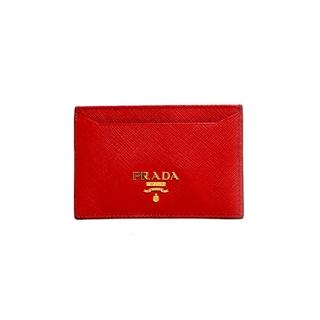 プラダ(PRADA)の【中古】プラダ PRADA カードケース ゴールド金具  ロゴ  美品 レザー(パスケース/IDカードホルダー)