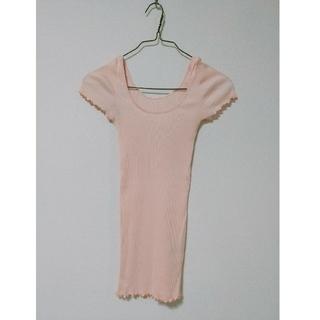 ダブルスタンダードクロージング(DOUBLE STANDARD CLOTHING)のDSC パステルピンク♡半袖リブニット(カットソー(半袖/袖なし))
