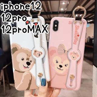 アイフォーン(iPhone)の♥iPhone12 12pro ケース ハンドベルト付き オシャレ 大人可愛い(iPhoneケース)