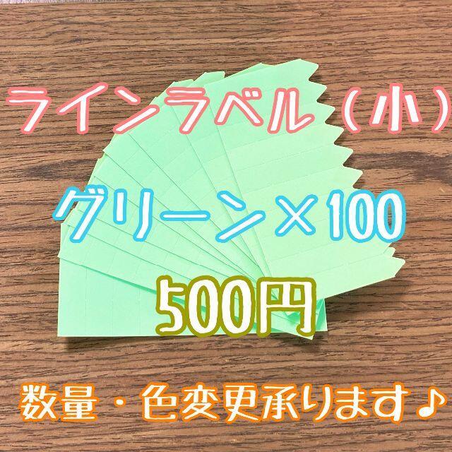 ◎ 100枚 ◎ 緑 ( 小 ) ラインラベル 園芸ラベル カラーラベル ハンドメイドのフラワー/ガーデン(プランター)の商品写真