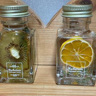 ハーバリウムミニオレンジ&キューイ入り2個セットカボス(ドライフラワー)