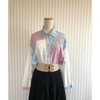 古着 ヴィンテージ   刺繍 カラーブロック ポリシャツ  レトロ ビンテージ(シャツ/ブラウス(長袖/七分))