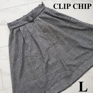 アベイル(Avail)のチップクリップ グレンチェック スカート グレー L レディース 服 古着(ひざ丈スカート)