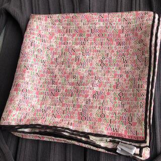 ボッテガヴェネタ(Bottega Veneta)のボッテガヴェネタ ピンク×ブラウン シルクスカーフ(バンダナ/スカーフ)