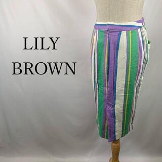 リリーブラウン(Lily Brown)のリリー ブラウン Iライン スカート ストライプ 総柄 タイト ペンシル サロン(ひざ丈スカート)