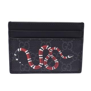 グッチ(Gucci)のグッチ  GGスプリーム スネーク パスケース カードケース 黒(名刺入れ/定期入れ)