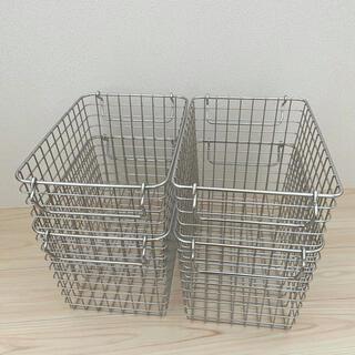 ムジルシリョウヒン(MUJI (無印良品))の無印良品 ワイヤーバスケット ステンレス 4個セット(バスケット/かご)