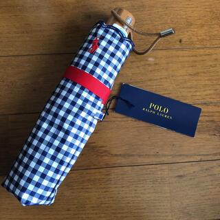 ポロラルフローレン(POLO RALPH LAUREN)の新品タグ付き☆ラルフローレン 日傘 ギンガムチェック ネイビー(傘)