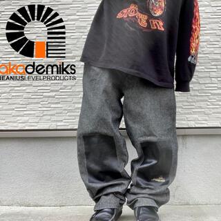 アカデミクス(AKADEMIKS)のアカデミクス ワイド デニム バギー デザインパンツ ダブルニー hip hop(デニム/ジーンズ)