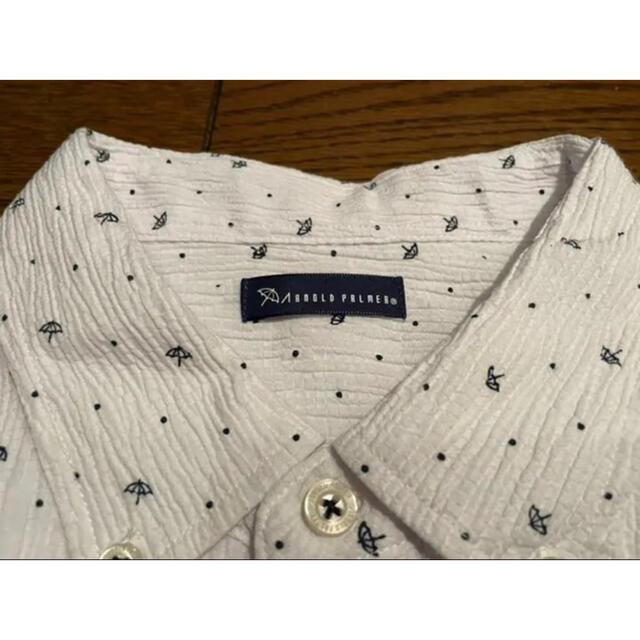 Arnold Palmer(アーノルドパーマー)のアーノルドパーマ 半袖 ボタンダウンシャツ  Mサイズ ホワイト スポーツ/アウトドアのゴルフ(ウエア)の商品写真