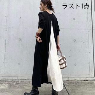 【即購入可】黒白スウェット マキシ ワンピース ラスト1点(ロングワンピース/マキシワンピース)