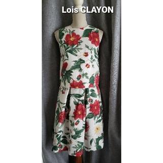 ロイスクレヨン(Lois CRAYON)の大変美品 ロイスクレヨン 大きな花柄のセットアップ ブラウス スカート(セット/コーデ)
