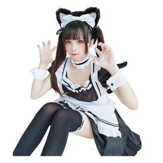 メイド服 コスプレ メイド ゴスロリ ワンピース 半袖 11点セット ハロウィン(衣装一式)